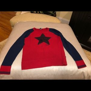 Tommy Hilfiger blue sequined star sweater, L 12-14